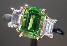 SOLD......Three Stone Ring: 1.16ct Emerald Cut Tsavorite and Trapezoidal Diamonds R3510