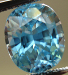 SOLD....Loose Zircon: Precision Cut 4.17ct Blue Zircon Cushion Cut R3542