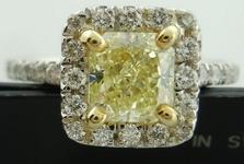 SOLD....Halo Diamond Ring: 1.02 Fancy Light Yellow VS1 Radiant Diamond GIA affordable custom made R3572