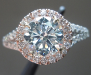 SOLD.. Diamond Ring:Faint Green SI1 Round Brilliant GIA Platinum and 18K Rose Gold R3579