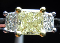 SOLD.....Three Stone Diamond Ring: .70ct Square Modified Brilliant Y-Z VVS1 GIA 18kt Yellow and White Gold R3598