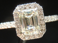 SOLD....Halo Diamond Ring: .94ct Emerald Cut J/VS2 GIA Platinum Ring R3620