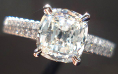 SOLD....Diamond Ring: 1.20ct L VS1 Daussi Cushion Diamond Beautiful Double Row Shank R3622