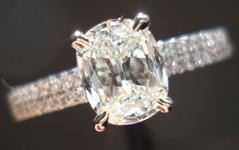 SOLD....Diamond Ring: .84ct I/VVS2 Daussi Cushion Diamond GIA Double Row Diamond Shank R3629