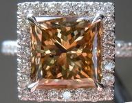 SOLD....Halo Diamond Ring: 3.50ct Yellow Brown Princess Cut Handmade Platinum R3632