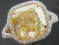 SOLD...Halo Diamond Ring: 4.62ct Fancy Light Yellow SI1 Cushion Diamond MICRO SET MASTERPIECE GIA R3636
