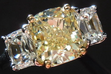 SOLD....Three Stone Diamond Ring: 2.02ct Cushion Cut Fancy Light Yellow SI2 with Daussi Cushions R3634