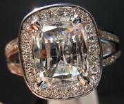 SOLD.....Halo Diamond Ring: Massive 2.02 Daussi Cushion Laser-Drilled Bargain in Platinum, R3640