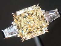 SOLD.....Diamond Ring: 3.20ct Radiant Cut W-X, Natural Light Yellow VS2 GIA Beautiful Stone R3650