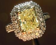 SOLD...Diamond Halo Ring: 1.54ctU-V, Natural Light Yellow Cushion Cut Diamond Stunning Ring R3619