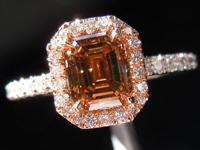 SOLD....Diamond Halo Ring: 1.12ct Fancy Deep Brown SI2 Emerald Cut Diamond Pink Gold Halo R3078