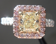 SOLD.... Diamond Halo Ring: 0.89ct Radiant Cut Fancy Yellow SI2 GIA Pink Lemonade R3666