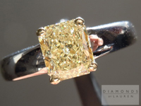 SOLD.....Yellow Diamond Ring: 1.22ct Radiant Cut Fancy Light Yellow SI1 GIA Great Color and Value R3674
