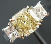 SOLD...Three stone Diamond Ring: 1.66ct Radiant Cut Y-Z VS1 GIA Amazing Cut R3686