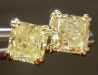 SOLD....Diamond Earrings: 1.36cts Fancy Light Yellow Radiant Cut Diamond 18Karat Yellow Gold Split Prong Studs