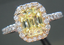 SOLD...Diamond Halo Ring: 1.03ct Emerald Cut Fancy Yellow VS1 Platinum and 18K YG Ring R3695