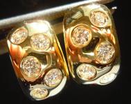 "SOLD....Diamond Hoop Earrings: .30ctw ""Swiss Cheese"" Huggies 18K Yellow Gold R3716"