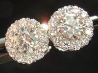 Diamond Halo Earrings: .97ct tw Diamond Halo Earrings in 18K White Gold SO3717