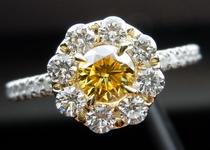 SOLD....Halo Diamond Ring: .36ct Round Brilliant Fancy Vivid Yellow SI2 GIA Seamless Halo Platinum R3730