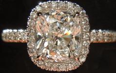 "SOLD....Halo Diamond Ring: 1.10ct Cushion Cut E/VVS2 GIA Plat ""Uber Ring R3727"