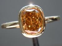 1.01ct Yellow-Brown SI1 Cushion Cut Diamond Ring R3745
