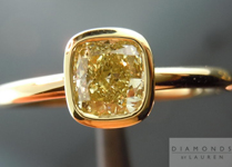 SOLD....Yellow Diamond Ring: .52ct Cushion Cut Fancy Yellow VS1 GIA 18K Bezel Ring R3789