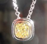 0.65ct Intense Yellow SI1 Cushion Cut Diamond Pendant R3795