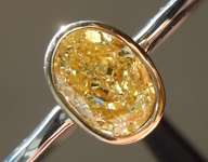 SOLD.....Yellow Diamond Ring: .71ct Oval Shape Fancy Yellow VS1 GIA Bezel Set TRADE UP SPECIAL R3800