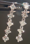 SOLD... Diamond Earrings: .46ct natural Grey Princess Diamond Dangles 18kt R3778