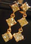 SOLD....Diamond Earrings: 1.41ct Natural Yellow Radiant Dangle Earrings 18kt R3767
