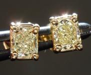 SOLD...Diamond Earrings: .54ct tw Fancy Light Yellow Radiant Cut Diamond Studs 18kt R3837