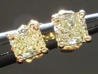SOLD....Diamond Earrings: .57ct tw Fancy Light Yellow Radiant Cut Diamond Studs 18kt R3836