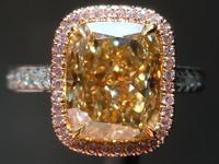 SOLD.... Halo Diamond Ring: 4.09ct Cushion Cut Fancy Brownish Yellow VS1 GIA Pink Diamond UBER Ring R3861