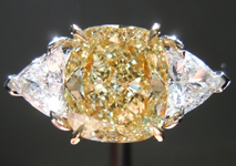 SOLD.....Three Diamond Ring: 2.13ct Fancy Yellow Cushion SI2 Trilliant Side Stones GIA R3866