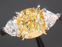 SOLD.....Three Stone Ring: 2.06 Cushion Cut Fancy Yellow VVS2 GIA Heart Side Stones R3868