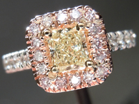 SOLD.....Diamond Halo Ring: .37ct Y-Z VS1 Radiant Cut Diamond Pink, White and Yellow Gold Halo Ring R3844