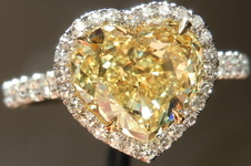 SOLD....Halo Diamond Ring: 2.09ct Heart Fancy Intense Yellow VS2- save BIG for FL- Uber Ring GIA R3880