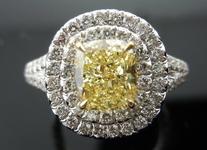 SOLD.....Halo Diamond Ring: 1.21ct Fancy Light Yellow Cushion Stunning Micro-Pave Platinum GIA R3721