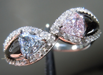 SOLD.....Bypass Ring: Pair of Trilliants Fancy Light Blue and Fancy Pinkish Purple GIA R3888
