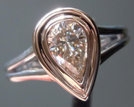 SOLD....Diamond Ring: .60ct Pear Shape K, Faint Brown SI1 GIA Laser Inscribed Double Bezel  R3924
