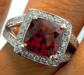 SOLD.... Malaya Garnet Ring: Precision Cut 3.29ct Malaya Garnet Square Antique Cut Diamond Halo Ring R3902