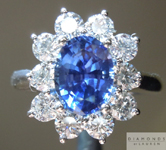 SOLD....Sapphire Ring: Precision Cut 1.77ct Blue Ceylon Sapphire Oval Shape Diamond Halo Ring R3905