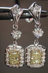 SOLD.... Diamond Halo Earrings: .69ctw Fancy Light Yellow Radiant Dangle Halo R3840
