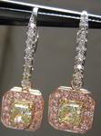 "SOLD.... Diamond Halo Earrings: Fancy Light Yellow ""Pink Lemonade"" Diamond Lever Backs Prong Set R3839"