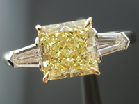 SOLD....Three Stone Diamond Ring: 1.36ct Radiant Cut Fancy Yellow VVS2 GIA Exceptional Ring R3965