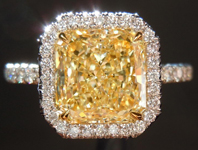 """SOLD.....Diamond Halo Ring: 2.11ct Radiant Cut Fancy Light Yellow SI1 GIA """"Uber"""" Halo R3979"""