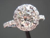 SOLD... Halo diamond ring: 1.36ct. J SI1 Old European cut diamond GIA R3950