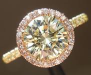 SOLD....Yellow Diamond Ring: 1.23ct Round Brilliant W-X SI1 GIA Pink Diamond Halo R4023