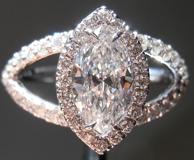 SOLD....Diamond Halo Ring: .79ct D/VS2 Marquise Diamond 18Karat White Gold R4030