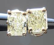 SOLD....Diamond Earrings: .71ct tw Y-Z, Natural Light Yellow Radiant Cut Diamond Studs 18kt R3993